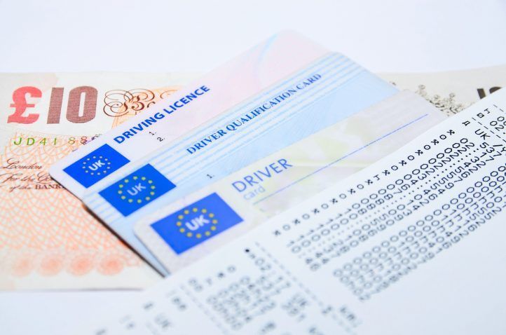 Money, driving license and ID card prepared before a trip